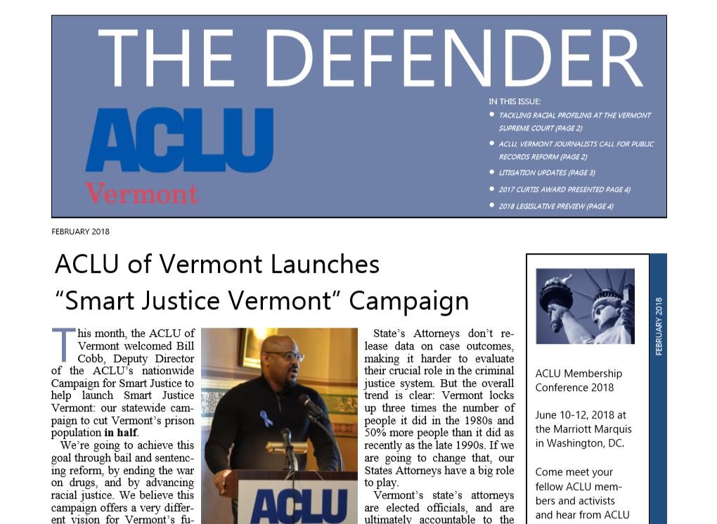 February 2018 Defender Front Page featuring Smart Justice Vermont campaign