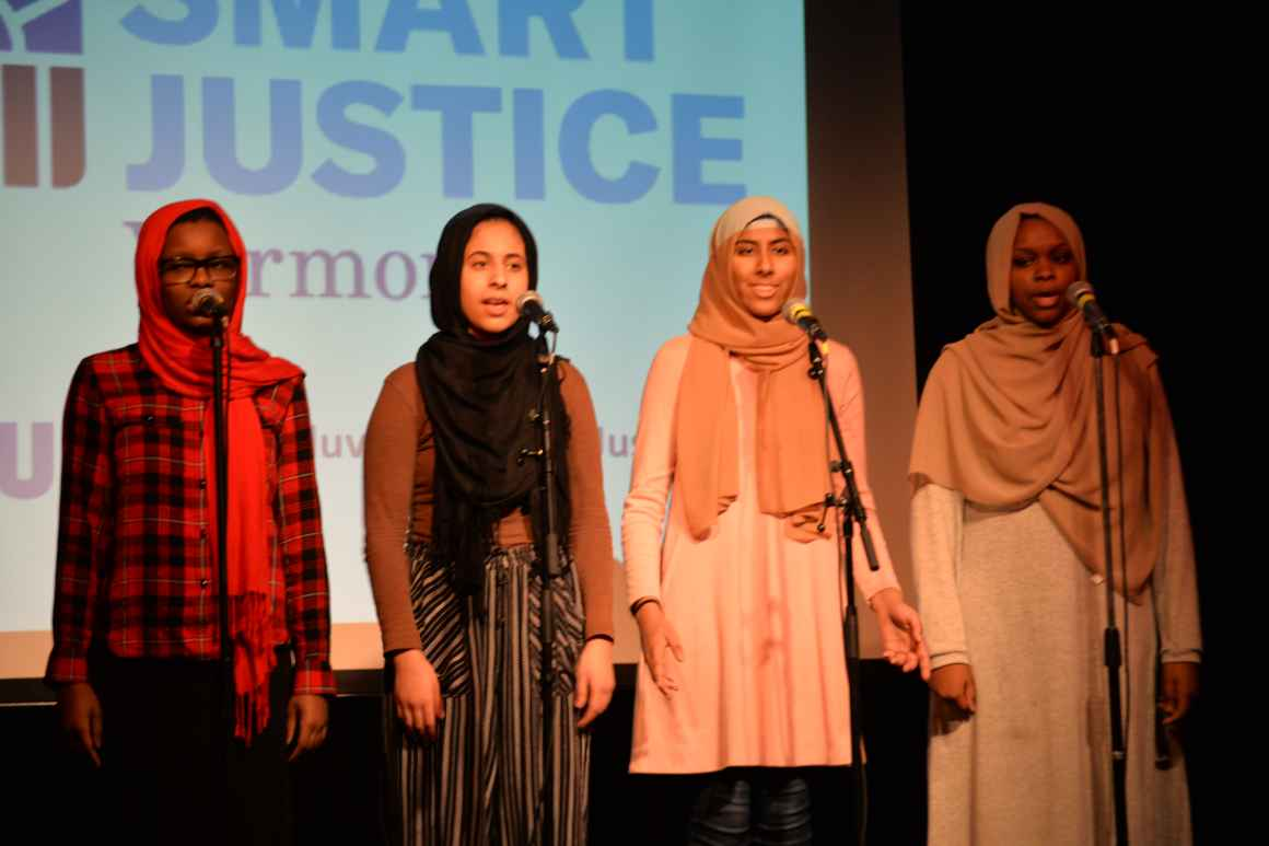 Muslim Girls Making Change perform at Smart Justice Vermont event in Burlington