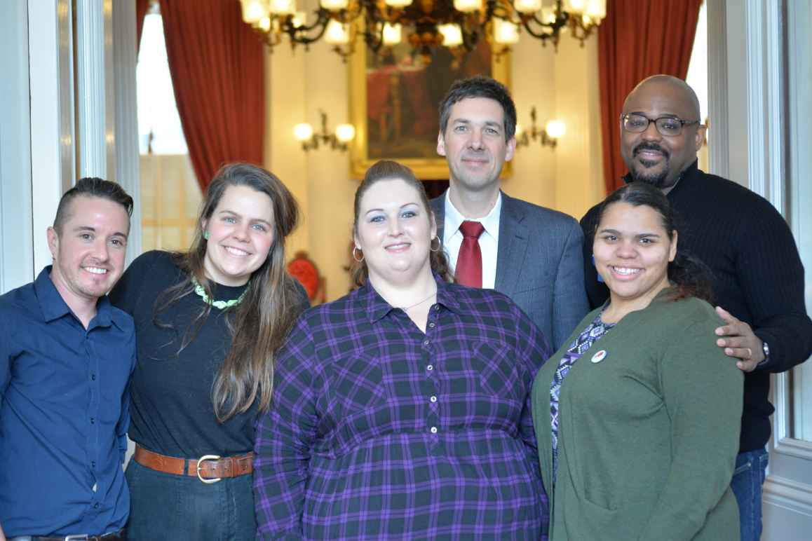 A group of Smart Justice Vermont advocates at the State house