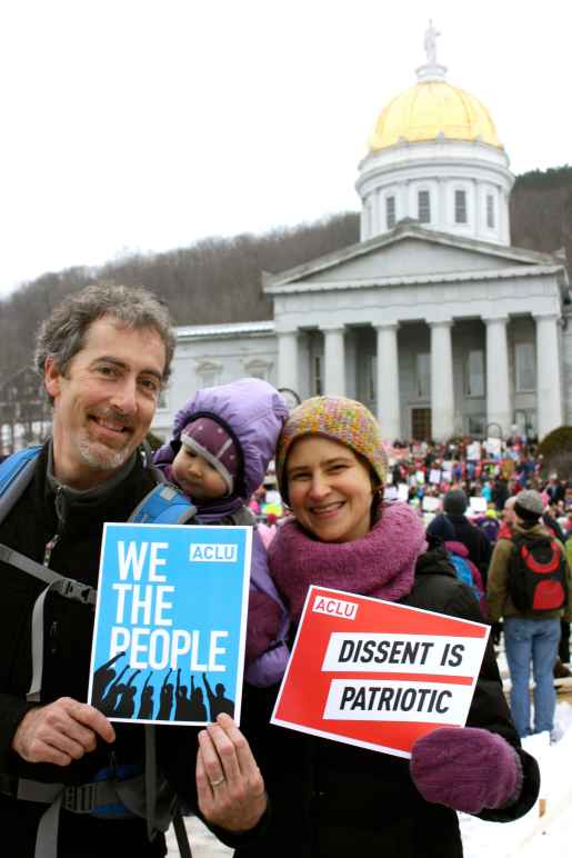 Protesters in front of the Vermont Statehouse